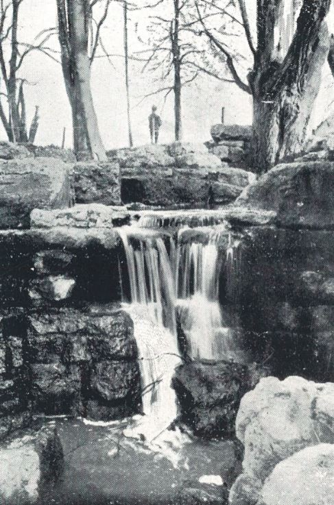 The waterfall at the western end of the West Lake<br><small><i>Cheltenham Chronicle and Gloucestershire Graphic</i> 4 June 1901</small>