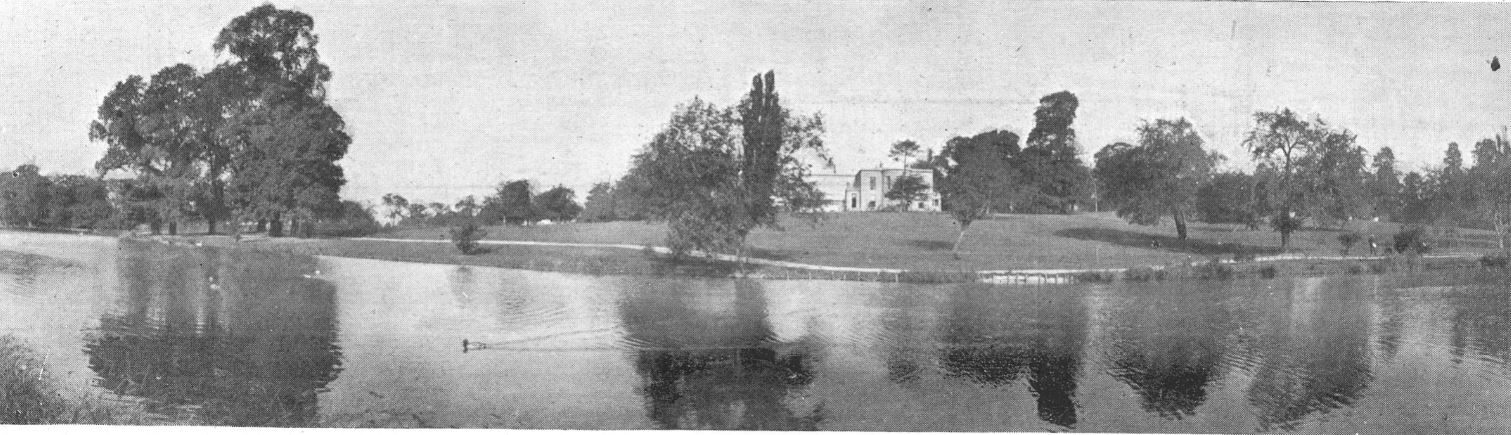 A panoramic view of the Lake with Marle Hill House  (now demolished) in the background<br><small><i>Cheltenham Chronicle and Gloucestershire Graphic</i> 21 December 1901</small>