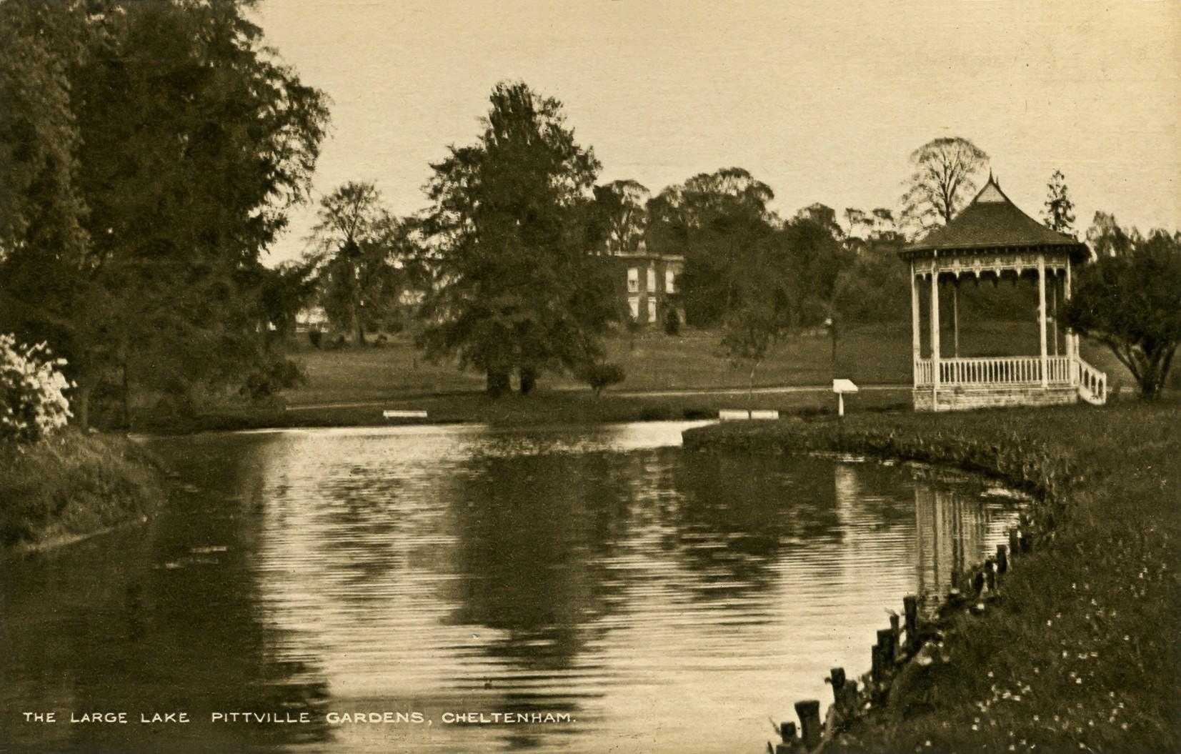 The Summer House on the West Lake (south bank), looking up towards Marle Hill House (1930s)
