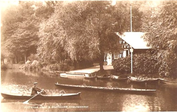 Rowing near the boat house (1890s) on the West Lake