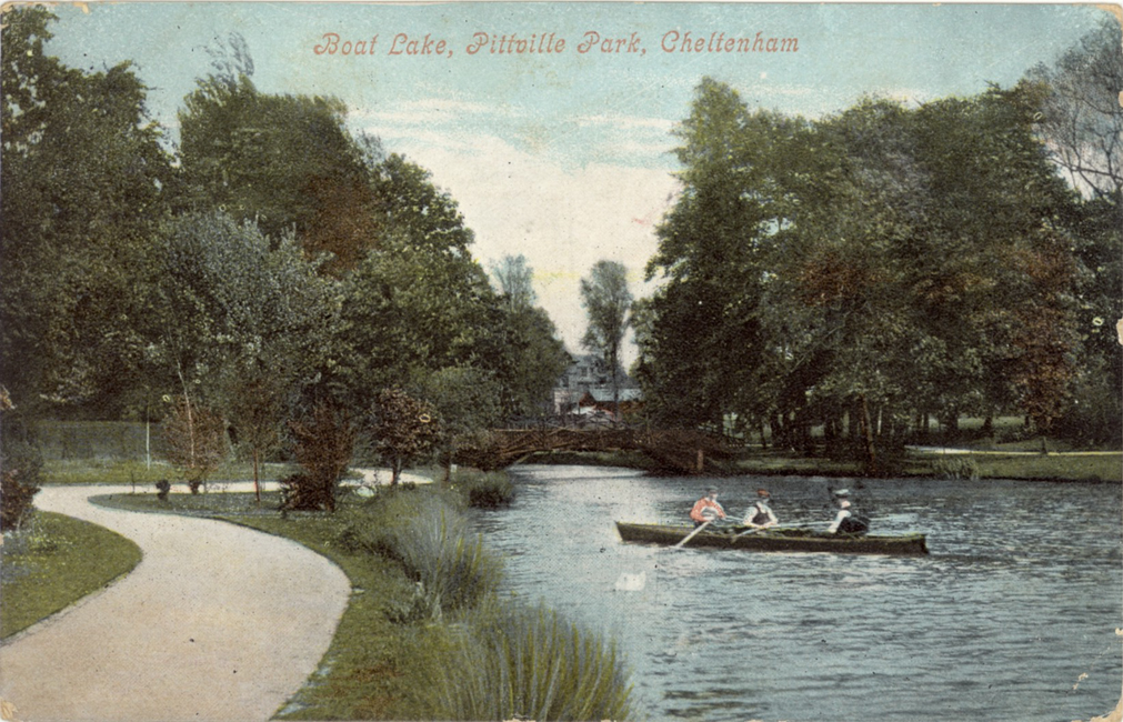 Three men in a boat (1900s). Note the tidy pathway
