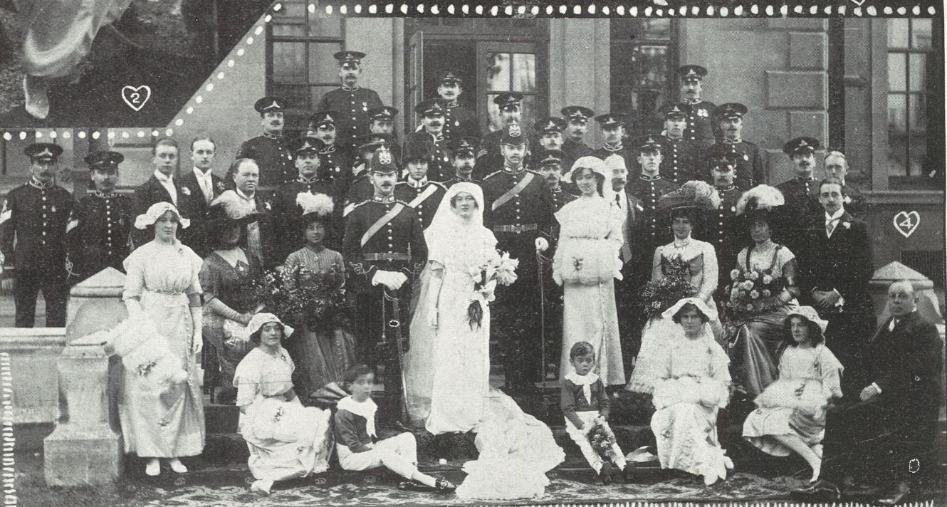 The stylish trappings of a military wedding in 1911<br><small><i>Cheltenham Chronicle and Gloucestershire Graphic</i> 7 October 1911</small>