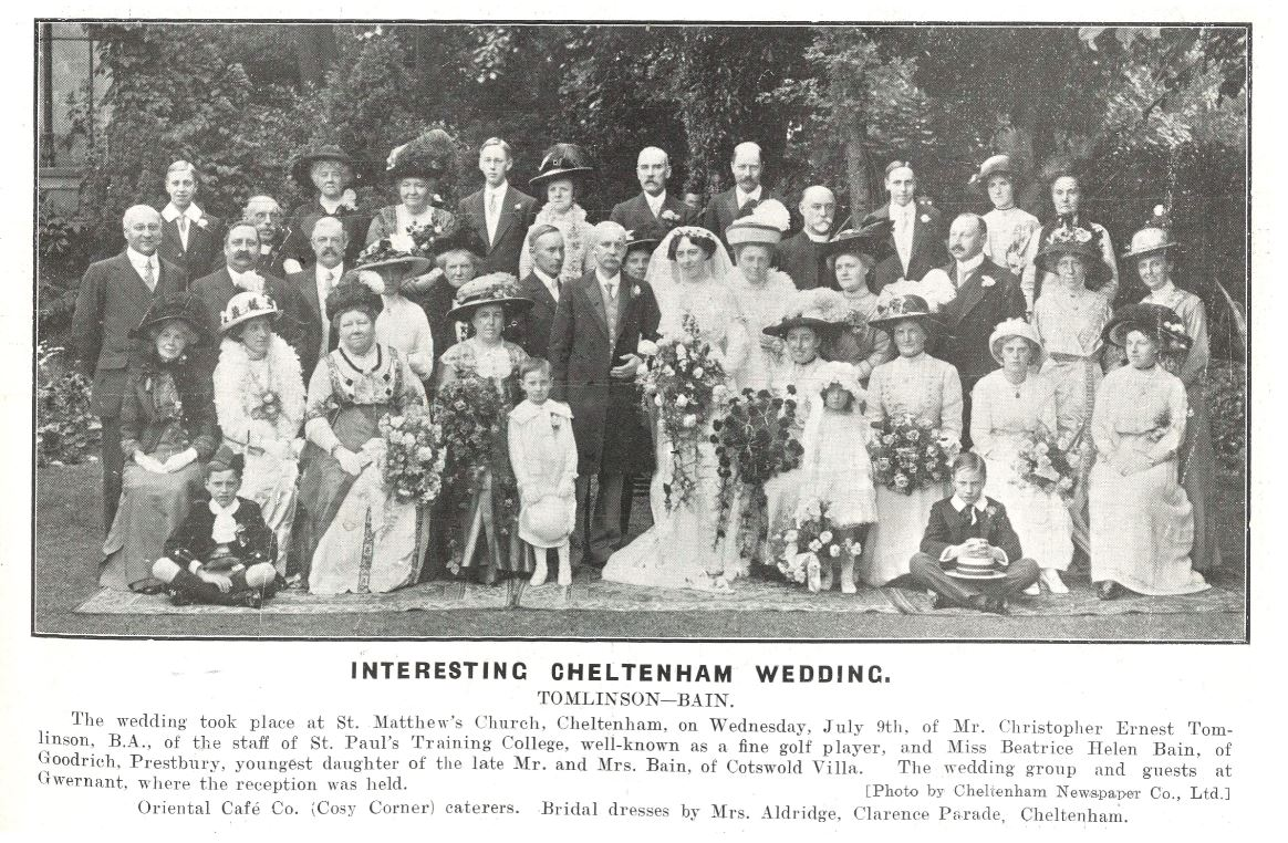 Floral displays everywhere, at another typical pre-WWI wedding<br>(watch out for a repeat of the newspaper caption later...)<br><small><i>Cheltenham Chronicle and Gloucestershire Graphic</i> 12 July 1913</small>