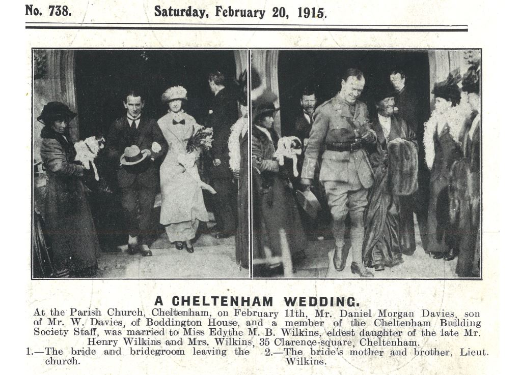 A wartime wedding, and time for shorter skirts, and smaller hats, and uniforms<br><small><i>Cheltenham Chronicle and Gloucestershire Graphic</i> 20 February 1915</small>