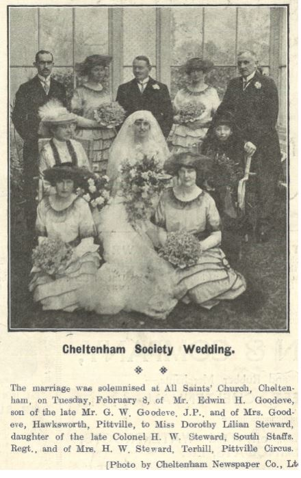 One of the <i>Chronicle</i>'s first 1920s wedding snaps<br><small><i>Cheltenham Chronicle and Gloucestershire Graphic</i> 12 February 1921</small>