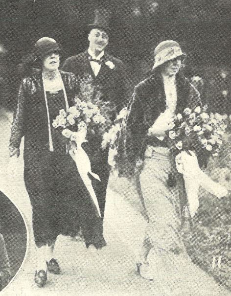 Cloche hats vied with top hats at the Littledale wedding in 1925 (mother and sister of the bride)<br><small><i>Cheltenham Chronicle and Gloucestershire Graphic</i> 2 May 1925</small>