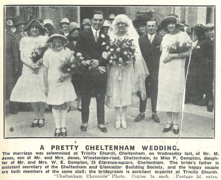 Short skirts and lounge suits are the order of the day at Phyllis Compton's 1926 wedding<br><small><i>Cheltenham Chronicle and Gloucestershire Graphic</i> 17 April 1926</small>