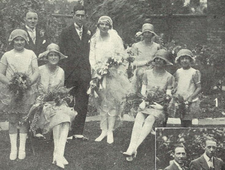 And cloche hats galore at Marjorie Silk's flapper wedding<br><small><i>Cheltenham Chronicle and Gloucestershire Graphic</i> 16 June 1926</small>