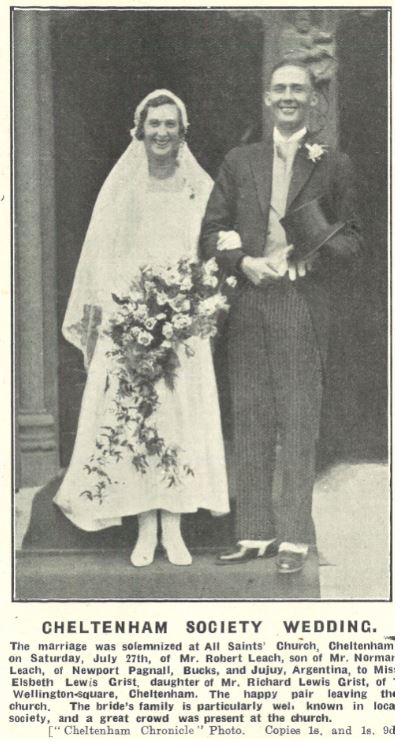 Top hat, tails, and spats for Elsbeth Grist's bridegroom in 1929<br><small><i>Cheltenham Chronicle and Gloucestershire Graphic</i> 3 August 1929</small>