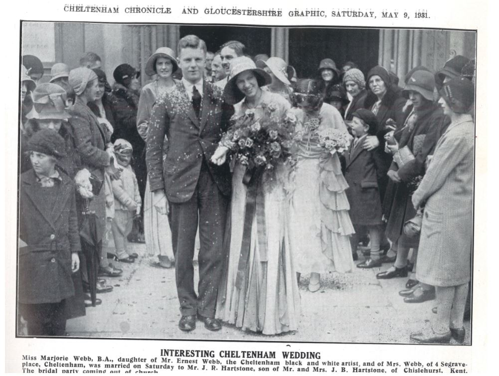 Cloche hats were still all the rage for Marjorie Webb's wedding in 1931<br><small><i>Cheltenham Chronicle and Gloucestershire Graphic</i> 9 May 1931</small>