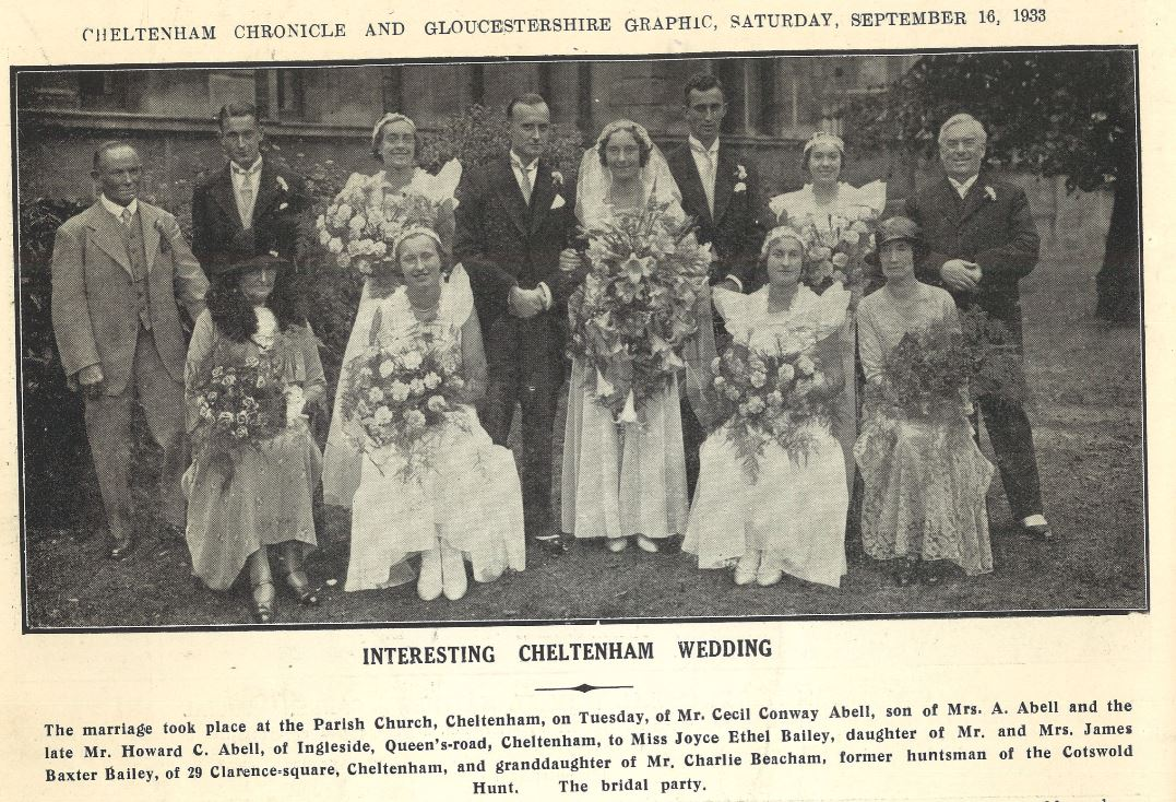 During the 1930s longer dresses came back into fashion again, as at Joyce Bailey's wedding in 1933.<br><small><i>Cheltenham Chronicle and Gloucestershire Graphic</i> 16 September 1933</small>
