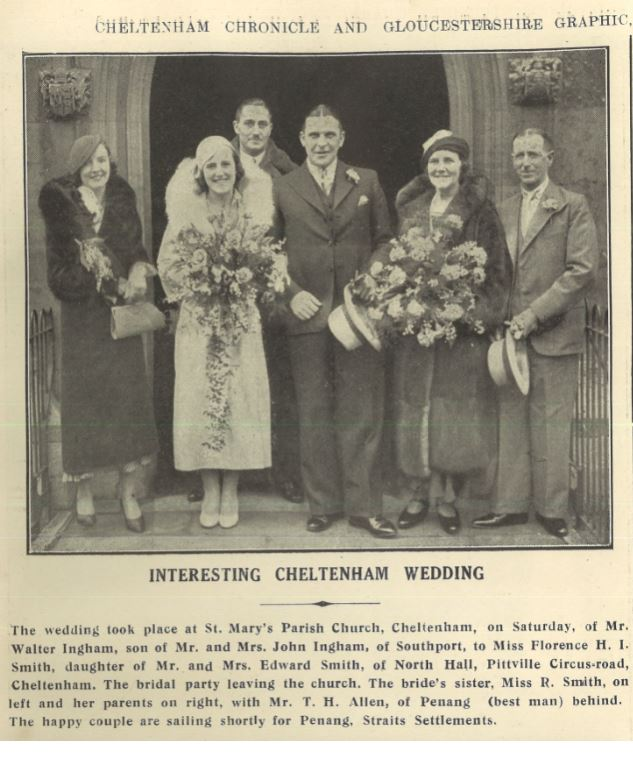 This 1934 wedding (Florence Smith) was a restrained affair compared to some of the elaborate pre-war weddings.<br>But they all seem happy enough.<br><small><i>Cheltenham Chronicle and Gloucestershire Graphic</i> 13 January 1934</small>