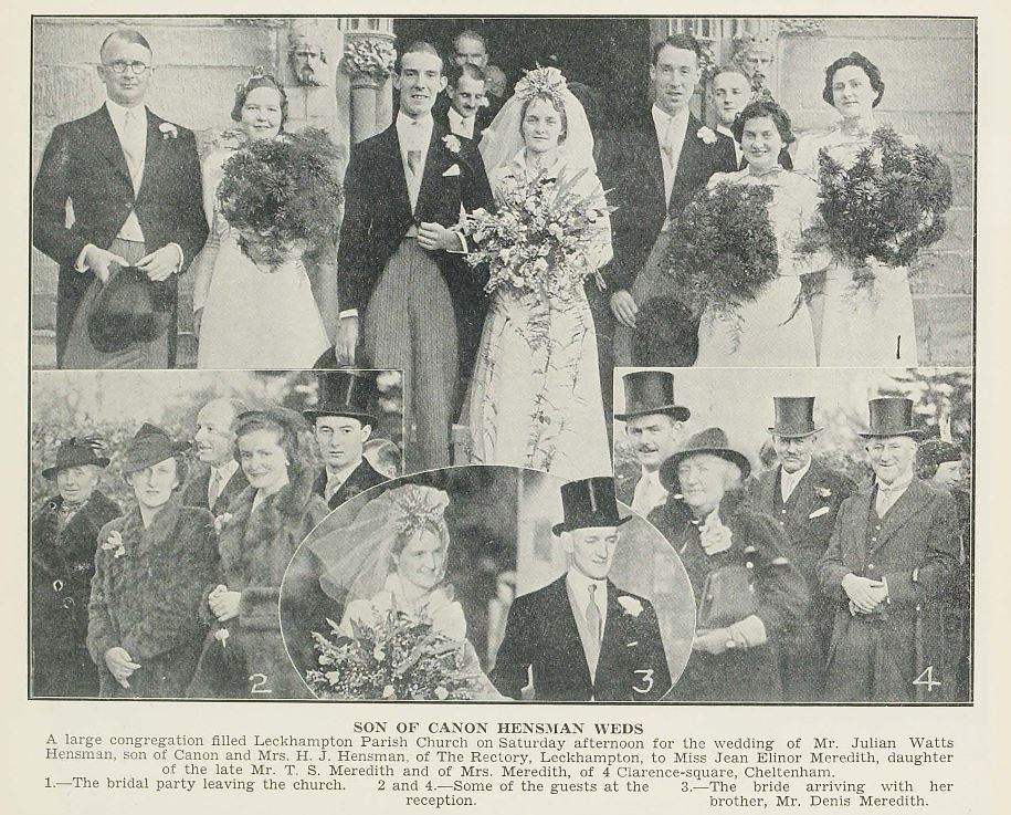 A smart wedding from 1938.<br><small><i>Cheltenham Chronicle and Gloucestershire Graphic</i> 10 December 1938</small>