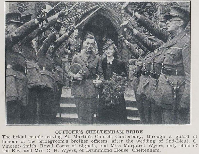 Another wedding from the early months of the Second World War<br>– the bride in a simple outfit and the groom in uniform with a military guard of honour.<br><small><i>Cheltenham Chronicle and Gloucestershire Graphic</i> 18 November 1939</small>