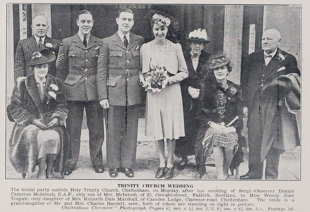 A wedding from 1941 with the groom and best man in RAF uniform and the bride in a simple dress.<br><small><i>Cheltenham Chronicle and Gloucestershire Graphic</i> 12 April 1941</small>