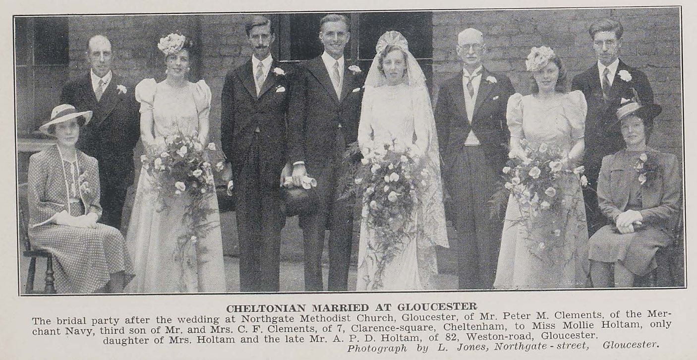 A more elaborate wartime wedding.<br><small><i>Cheltenham Chronicle and Gloucestershire Graphic</i> 19 July 1941</small>