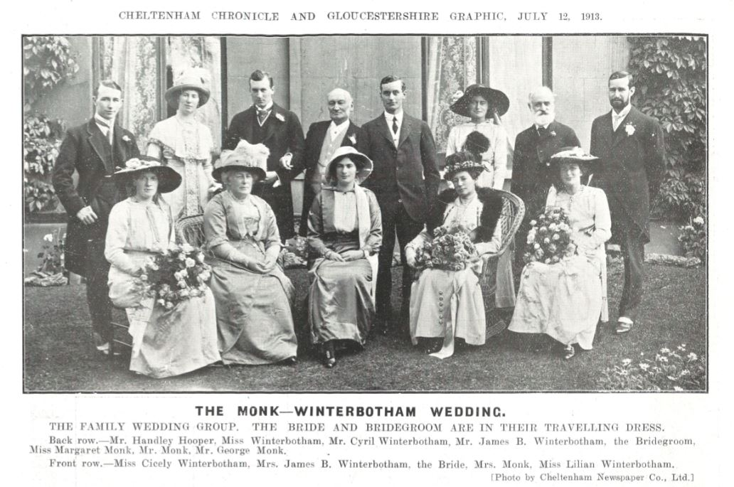 A grand wedding of one of Pittville's grandest families, the Winterbothams<br><small><i>Cheltenham Chronicle and Gloucestershire Graphic</i> 12 July 1913</small>
