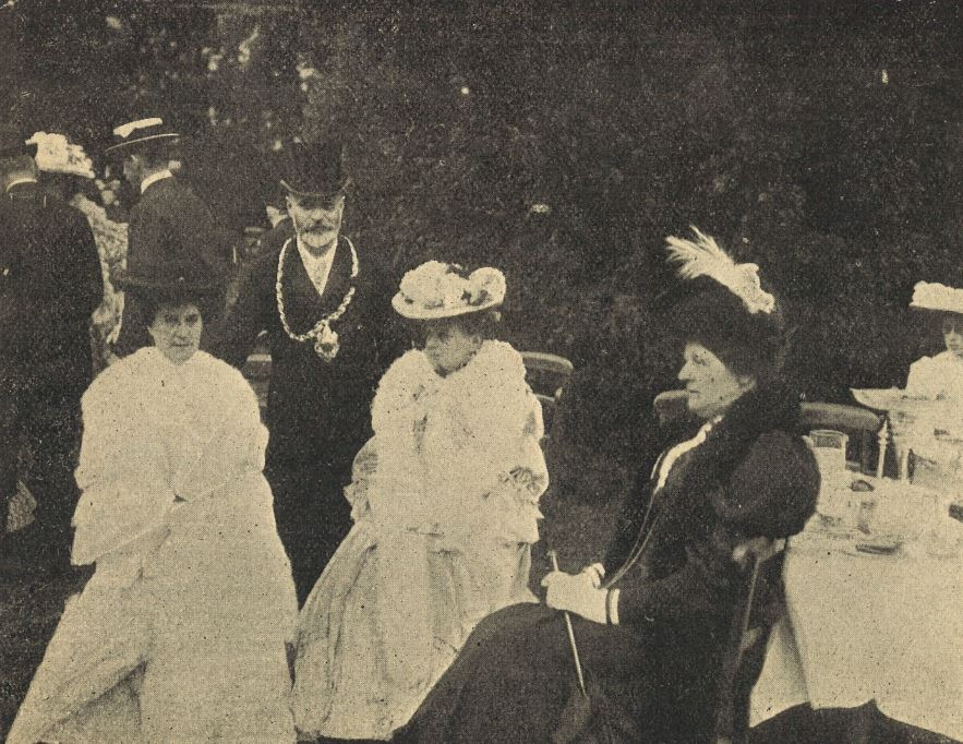 The Mayor, George Dimmer, introduces his guests to the camera at his Garden Party: smile please!<br><small><i>Cheltenham Chronicle and Gloucestershire Graphic</i> 15 July 1905</small>