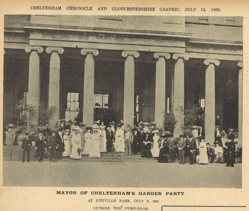Each year there was a group shot, and 1905 is no exception.<br>Over 1,200 invitations were accepted, so some are out of shot.<br><small><i>Cheltenham Chronicle and Gloucestershire Graphic</i> 15 July 1905</small>