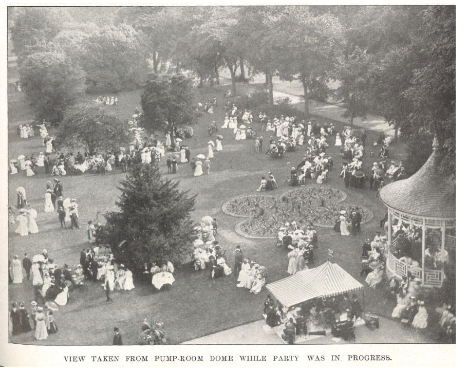 The 1907 aerial shot of the Mayor's Garden Party<br><small><i>Cheltenham Chronicle and Gloucestershire Graphic</i> 27 July 1907</small>