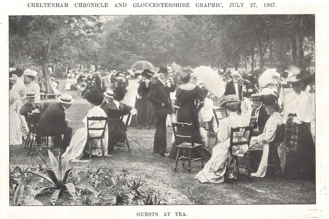 The Mayor's Garden Party in 1907 - an outstanding shot of the guests<br><small><i>Cheltenham Chronicle and Gloucestershire Graphic</i> 27 July 1907</small>