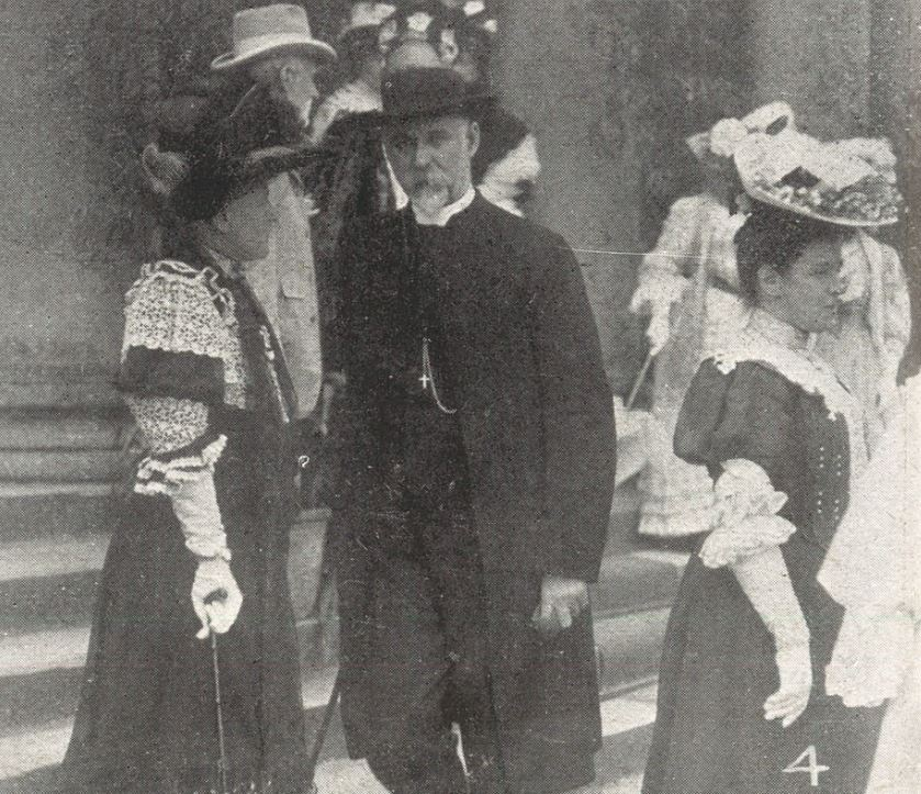 'The Rector with Lady Friends'. The Rector was the Rev. Francis L'Estrange Fawcett,<br>and this was his first experience of Cheltenham's mayoral Garden Party<br><small><i>Cheltenham Chronicle and Gloucestershire Graphic</i> 27 July 1907</small>