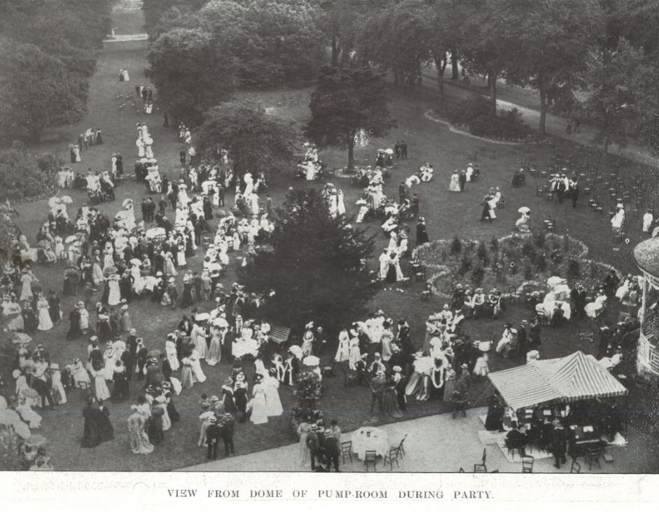 The traditional aerial shot of the Mayor's Garden Party, this time from 1908.<br>Where's Wally?<br><small><i>Cheltenham Chronicle and Gloucestershire Graphic</i> 27 June 1908</small>