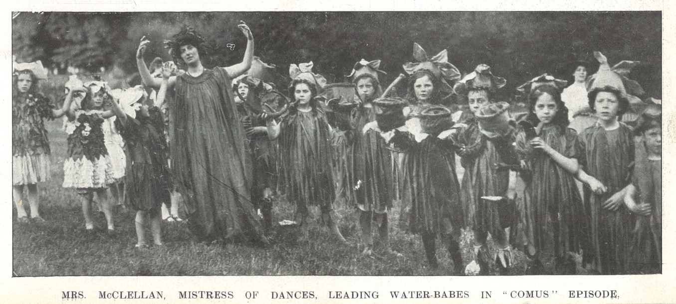 Mrs McClellan leads the dance in <i>Comus</i><br><small><i>Cheltenham Chronicle and Gloucestershire Graphic</i> 11 July 1908</small>