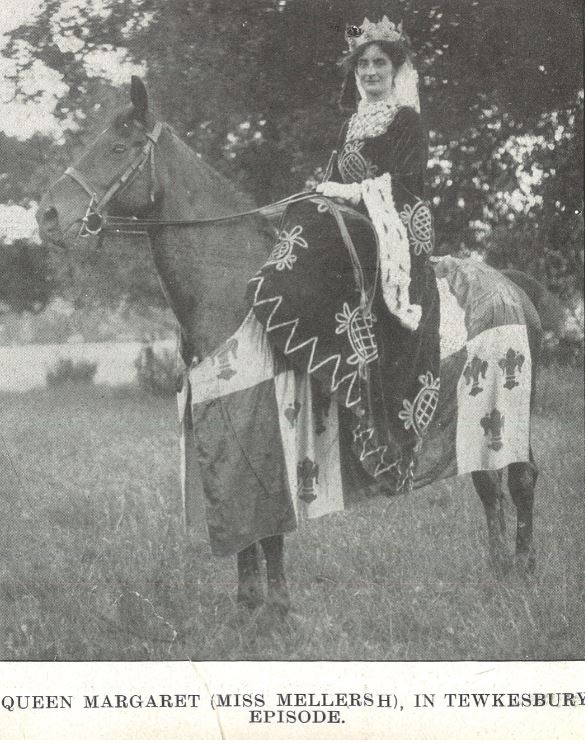 Miss Winifred Mellersh of The Gryphons (presumably), on her charger<br><small><i>Cheltenham Chronicle and Gloucestershire Graphic</i> 25 July 1908</small>