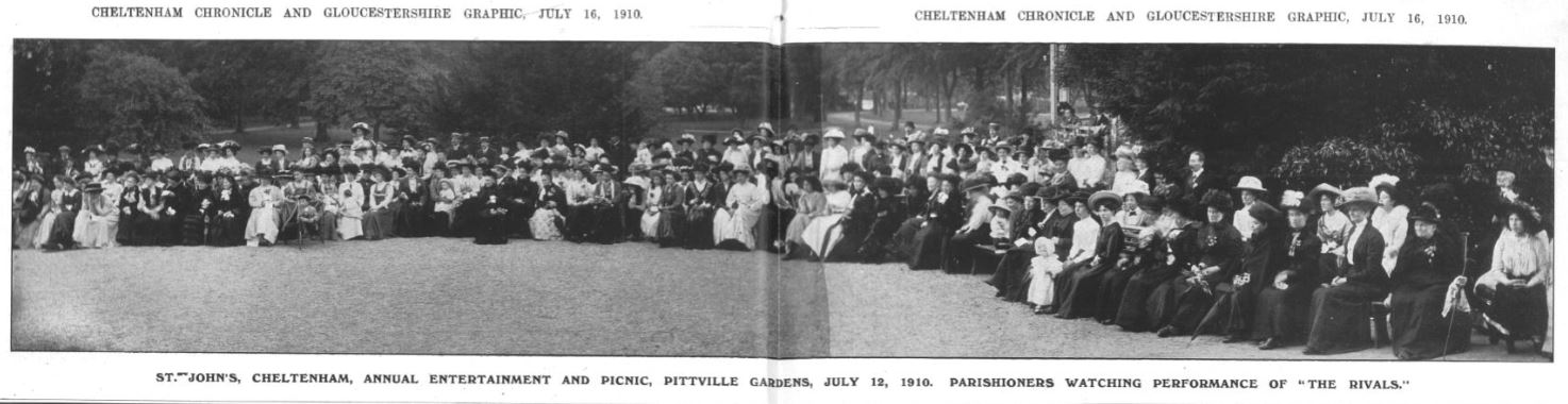 The actors' view of the audience at the summer performance of Sheridan's <i>The Rivals</i> in 1910<br><small><i>Cheltenham Chronicle and Gloucestershire Graphic</i> 16 July 1910</small>
