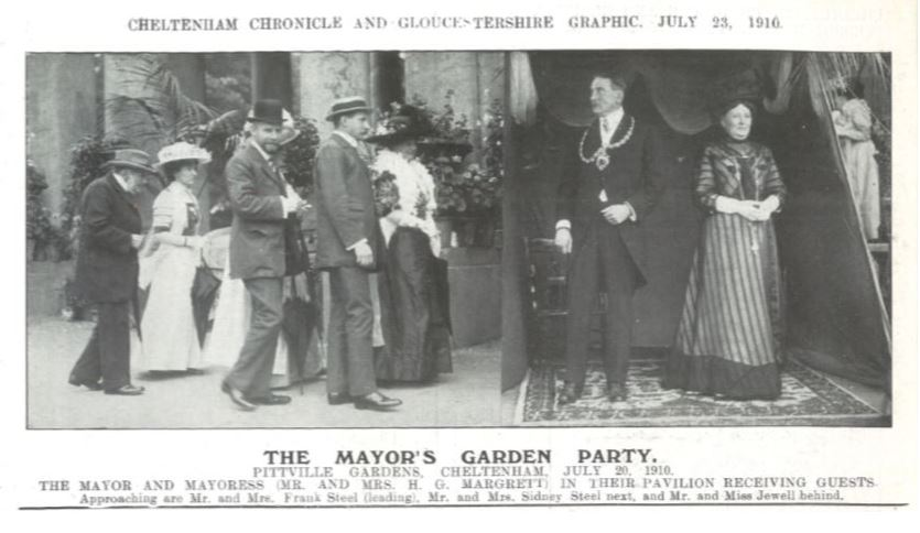 And still the guests roll up!<br><small><i>Cheltenham Chronicle and Gloucestershire Graphic</i> 23 July 1910</small>