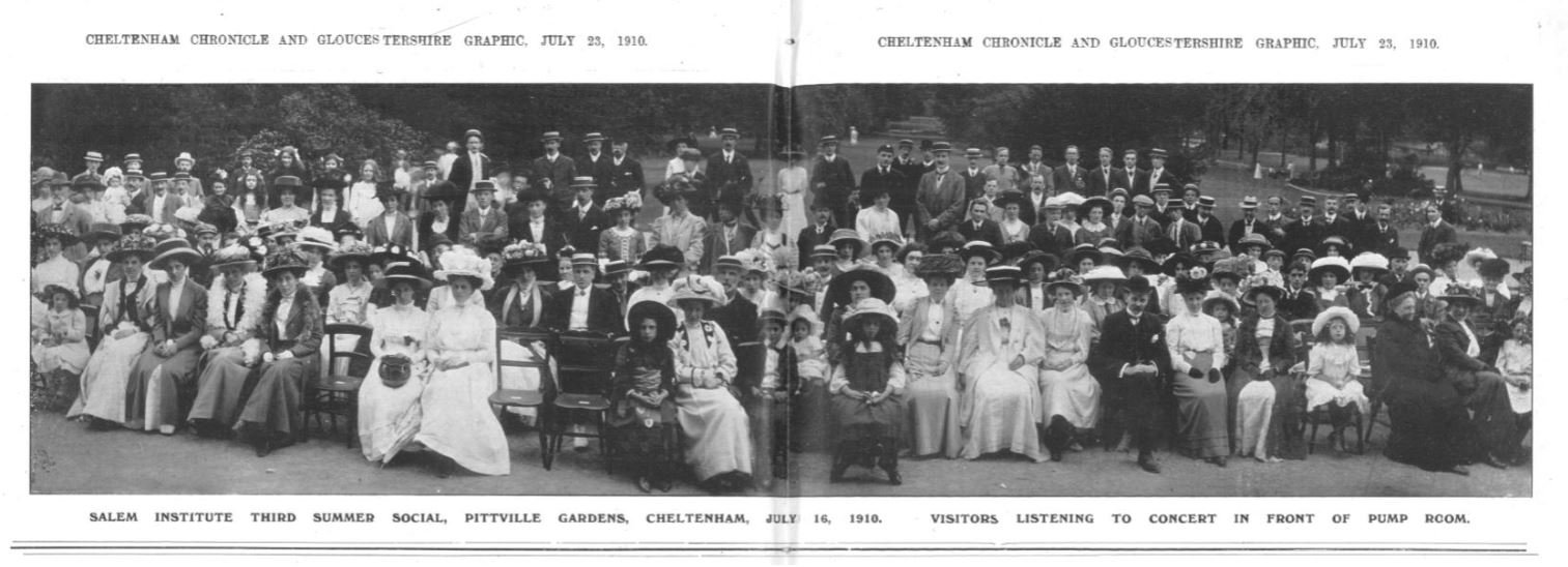 The orchestra's view of the audience: standing room only<br><small><i>Cheltenham Chronicle and Gloucestershire Graphic</i> 23 July 1910</small>