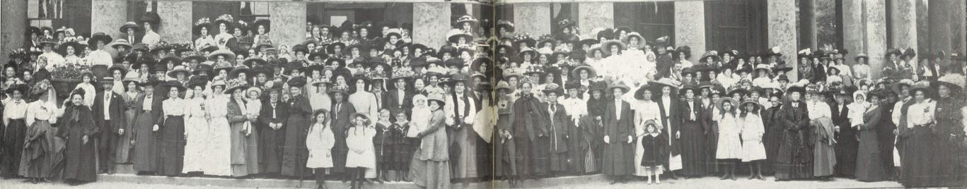 Just one section of the Cheltenham Women's Liberal Association posing for the camera at their Garden Party in Pittville Gardens on 28 June 1911<br><small><i>Cheltenham Chronicle and Gloucestershire Graphic</i> 8 July 1911</small>