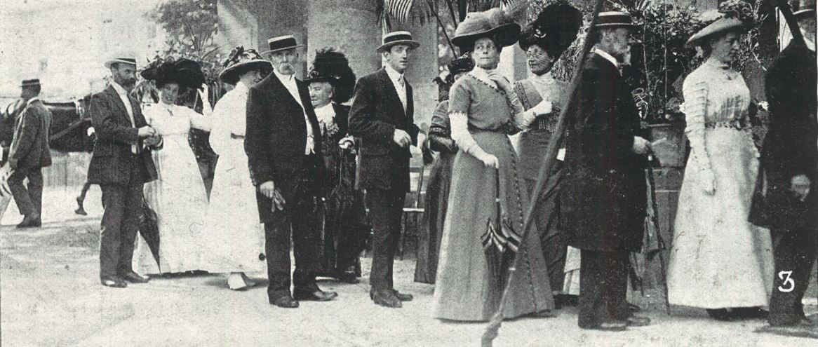 Lining up to greet the Mayor at his Garden Party in Summer 1911<br><small><i>Cheltenham Chronicle and Gloucestershire Graphic</i> 22 July 1911</small>
