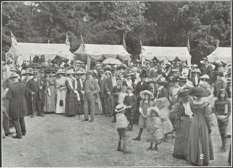 The bazaar stalls with purchasers and, as the caption reads, 'others'<br><small><i>Cheltenham Chronicle and Gloucestershire Graphic</i> 22 June 1912</small>