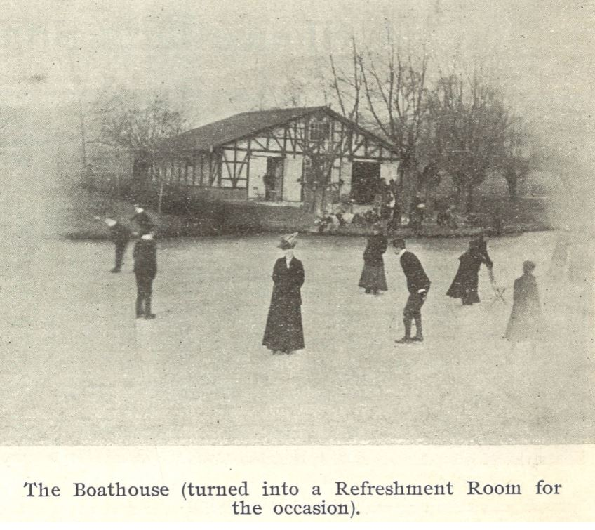 On 14 February the <i>Echo</i> reported that 'The ice at Pittville Lake is in a splendid condition. Hot refreshments, including bovril, are provided at the boathouse. The gardens will be illuminated at night by two large Wells lights, and will be kept open till ten o'clock, so that tradesmen and their assistants will be able to share in the pleasure afforded'.<br><small><i>Supplement</i> to the <i>Cheltenham Chronicle</i> 22 February 1902</small>