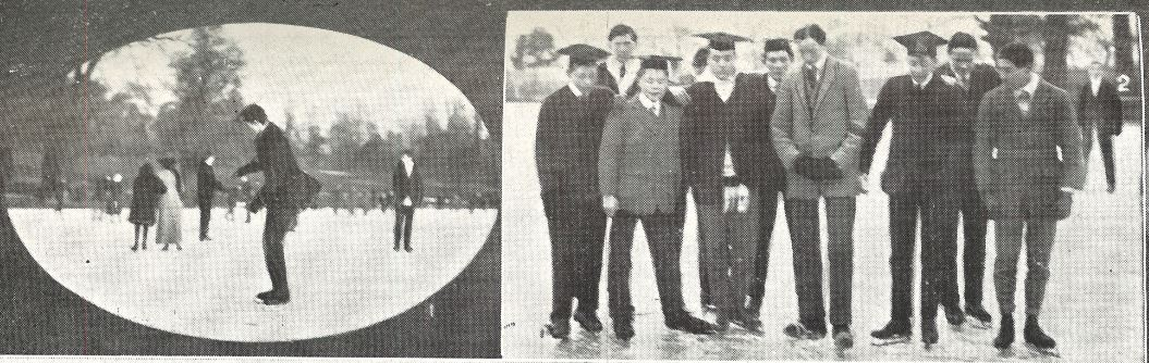 (left) 'A College boy figure-skating'; (right) 'A group of Collegians on the ice on Friday'<br><small><i>Supplement</i> to the <i>Cheltenham Chronicle</i> 10 February 1912</small>