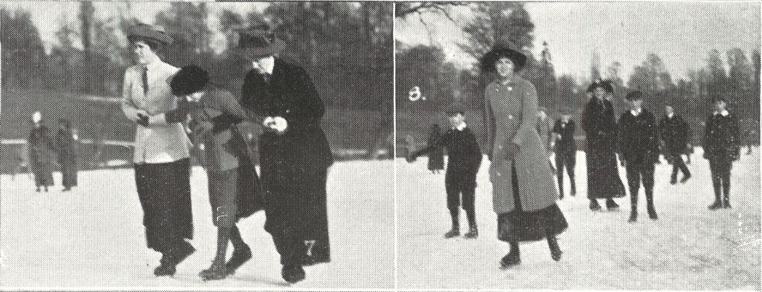 (left) 'Taking a novice round'; (right) 'A good skater'<br><small><i>Supplement</i> to the <i>Cheltenham Chronicle</i> 10 February 1912</small>