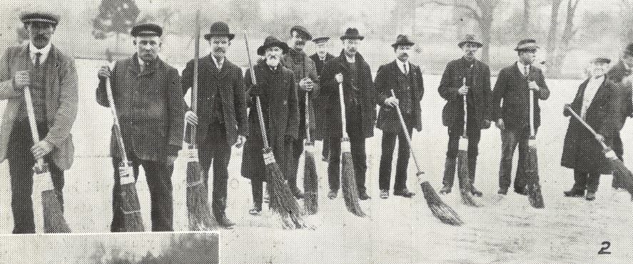 'The Sweeping Brigade, who are very busy removing the snow from some splendid ice'<br><small><i>Supplement</i> to the <i>Cheltenham Chronicle</i> 3 February 1917</small>