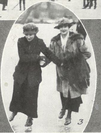 'Mrs. R. Davies (right) skating with a friend'<br><small><i>Supplement</i> to the <i>Cheltenham Chronicle</i> 3 February 1917</small>