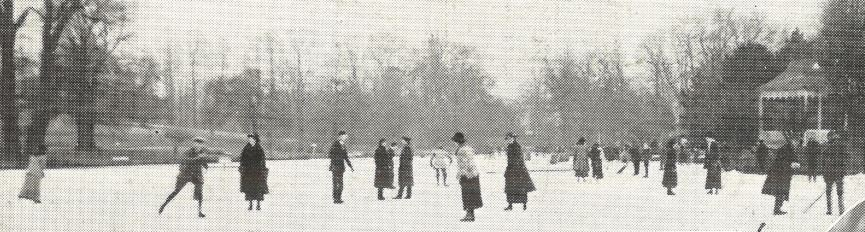 'General view of the skating on the lake on the opening afternoon on Wednesday'<br><small><i>Supplement</i> to the <i>Cheltenham Chronicle</i> 3 February 1917</small>