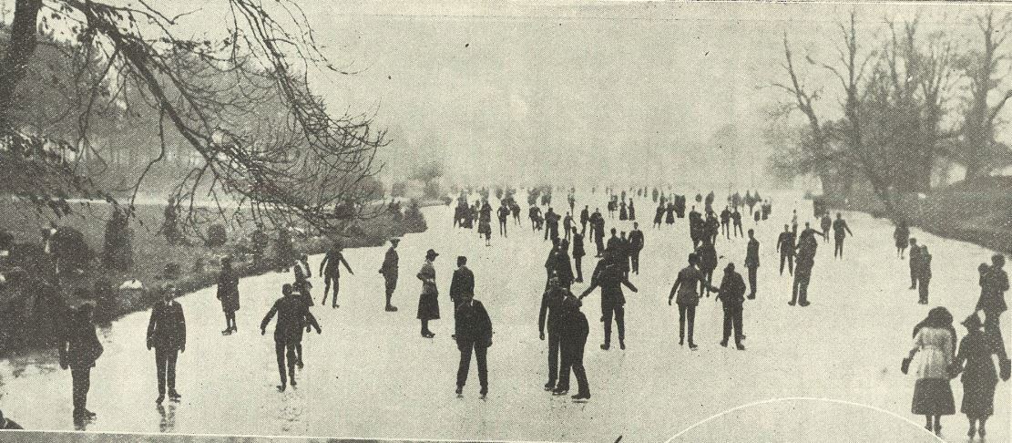 'General view of the skating from the ornamental bridge'<br><small><i>Supplement</i> to the <i>Cheltenham Chronicle</i> 22 February 1919</small>