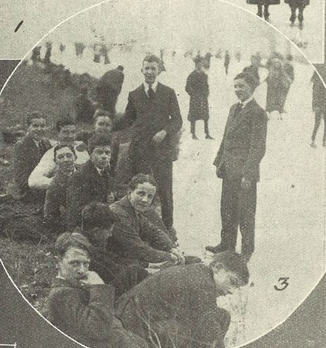 'Cheltenham College boys putting their skates on'<br><small><i>Supplement</i> to the <i>Cheltenham Chronicle</i> 22 February 1919</small>