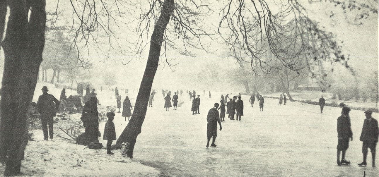 'A snap on Friday morning, when the lake in the Annexe was first open for skating. Dr. Smerthwaite, a very fine skater, is in the centre of foreground, wearing a sweater'<br><small><i>Supplement</i> to the <i>Cheltenham Chronicle</i> 12 December 1925</small>
