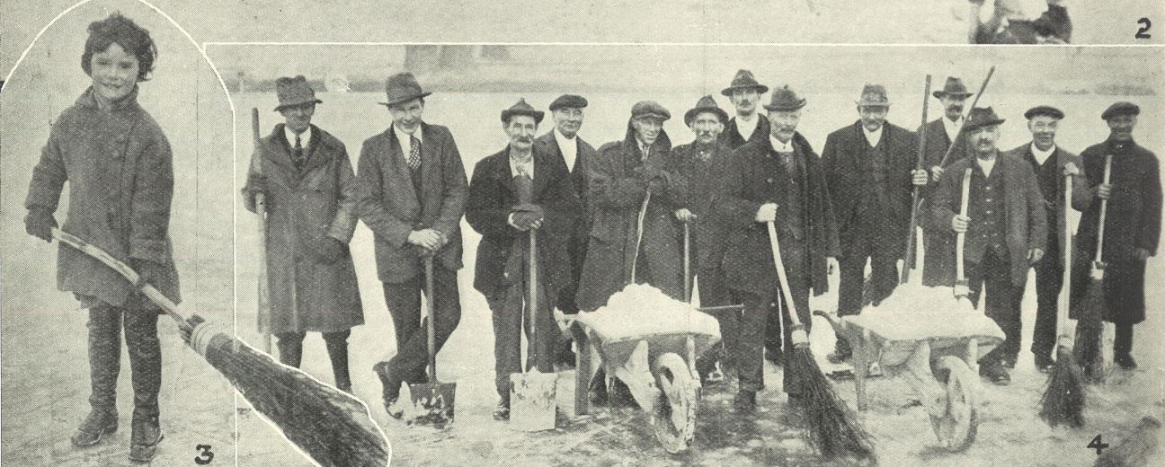 (left and right) 'Sweepers of the ice'<br><small><i>Supplement</i> to the <i>Cheltenham Chronicle</i> 12 December 1925</small>