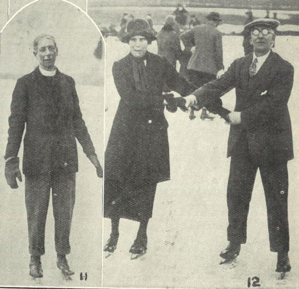 (left) 'Rev. H. E. Noott' (formerly Vicar of St Luke's, Cheltenham); (right) 'Mr. and Mrs. E. Saunders are good skaters'<br><small><i>Supplement</i> to the <i>Cheltenham Chronicle</i> 12 December 1925</small>