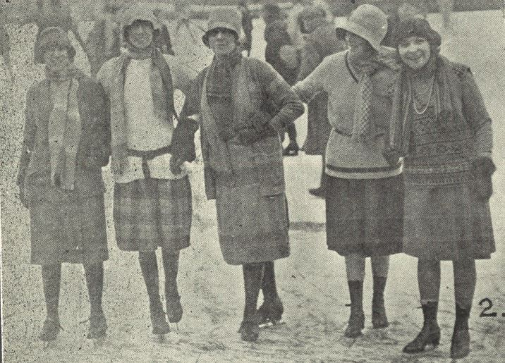 'The three Misses Travess, Mrs. Arney, and Miss Elsie James on skates'<br><small><i>Supplement</i> to the <i>Cheltenham Chronicle</i> 23 February 1929</small>