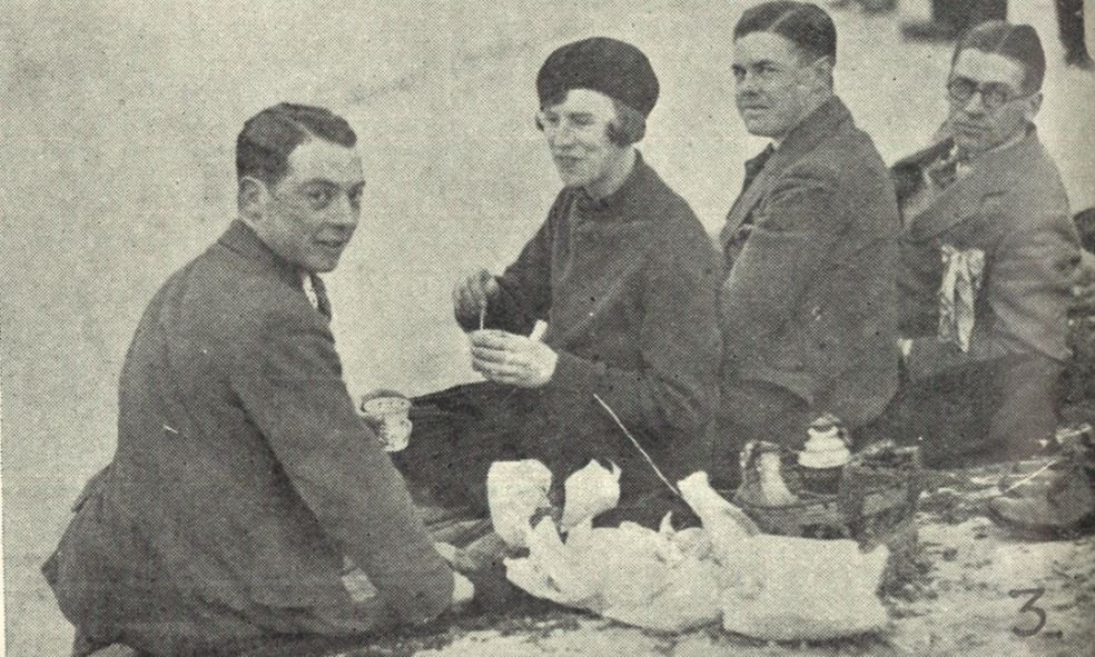'Afternoon tea on the bank: Messrs. Forbes (extreme left) and C. Jessop (third from left)'<br><small><i>Supplement</i> to the <i>Cheltenham Chronicle</i> 23 February 1929</small>