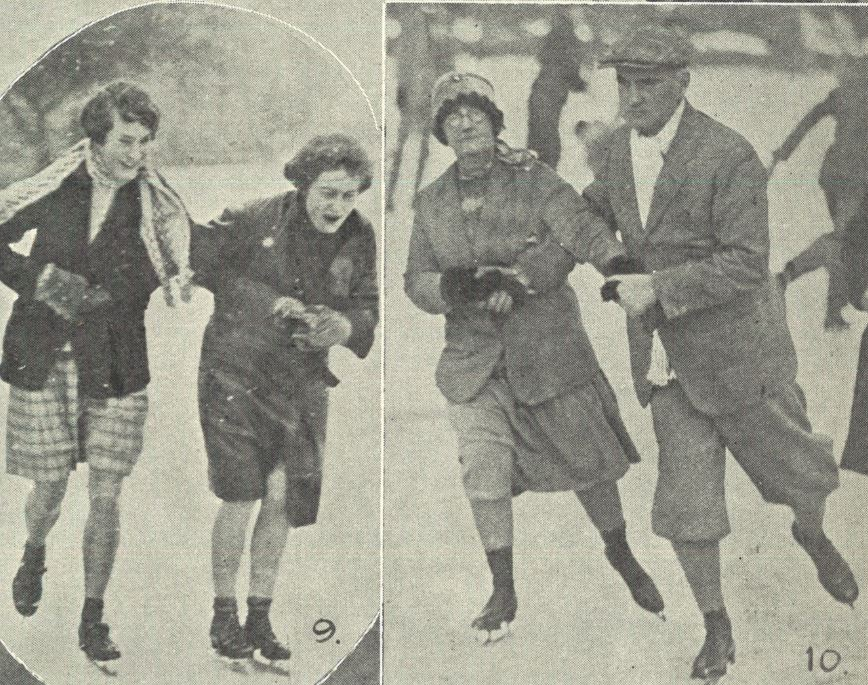 (left) 'Two young ladies who were getting along well'; (right) 'Mr. and Mrs. J. H. Beach skated well together'<br><small><i>Supplement</i> to the <i>Cheltenham Chronicle</i> 23 February 1929</small>
