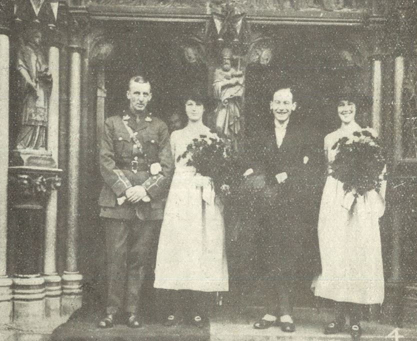 Smiles amidst the gloom as Armistice Day approaches, at the wedding of Nancy Lewis Grist of Wellington Square<br><small><i>Cheltenham Chronicle and Gloucestershire Graphic</i> 2 November 1918</small>